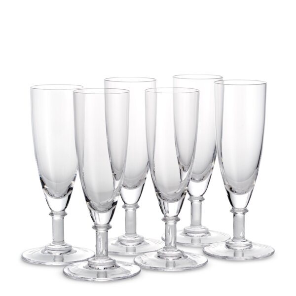 Set of six champagne crystal flutes from The Wolseley