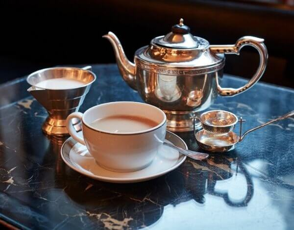 A cup of tea with breakfast at The Wolseley, a café-restaurant in Mayfair