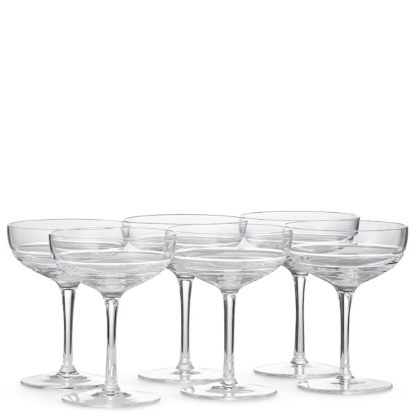 Set of six crystal coupes glasses