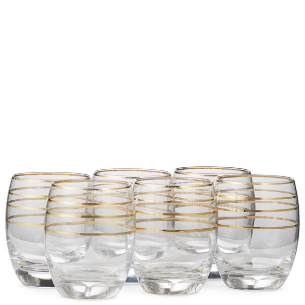 set of six old fashioned crystal glasses