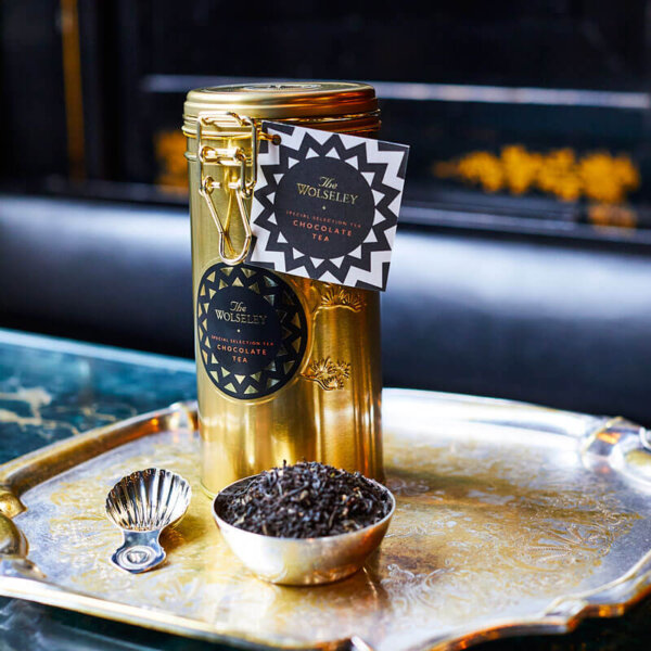 Chocolate tea tin and silver plated tea caddy - The Wolseley Shop