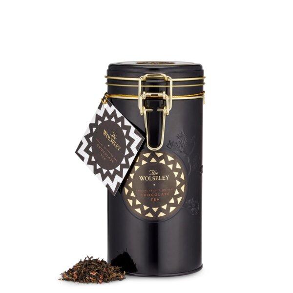 The Wolseley's chocolate loose leaf tea tin