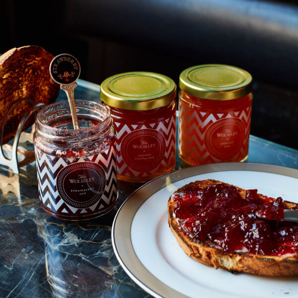 Jam and Marmalade Gift Set and Toast on a Plate