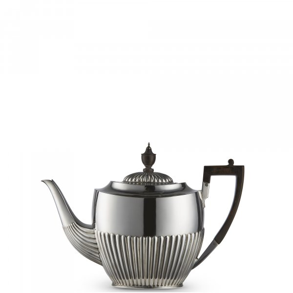 Vintage Silver-Plated Victorian Half Flute Teapot