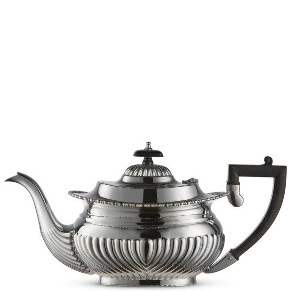 Vintage Silver-Plated Victorian Half Flute Teapot