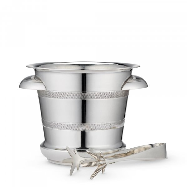 Vintage Silver-plated Ice Bucket & Tongs