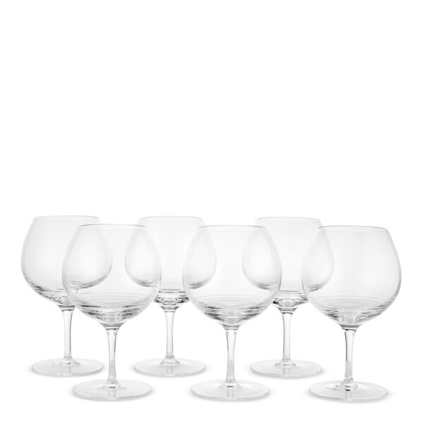 Set of six Bevelled red wine glasses
