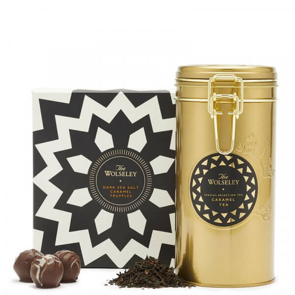 dark sea salt caramel truffles and caramel tea with box and tin