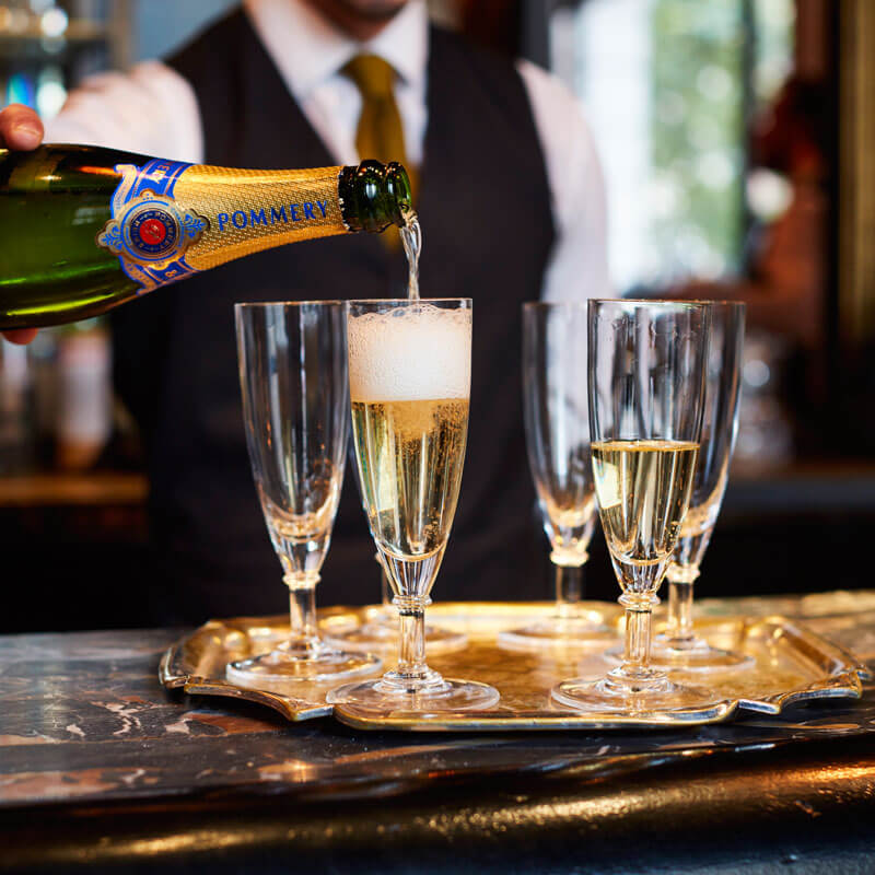 Pommery Champagne available at The Wolseley bar in Mayfair
