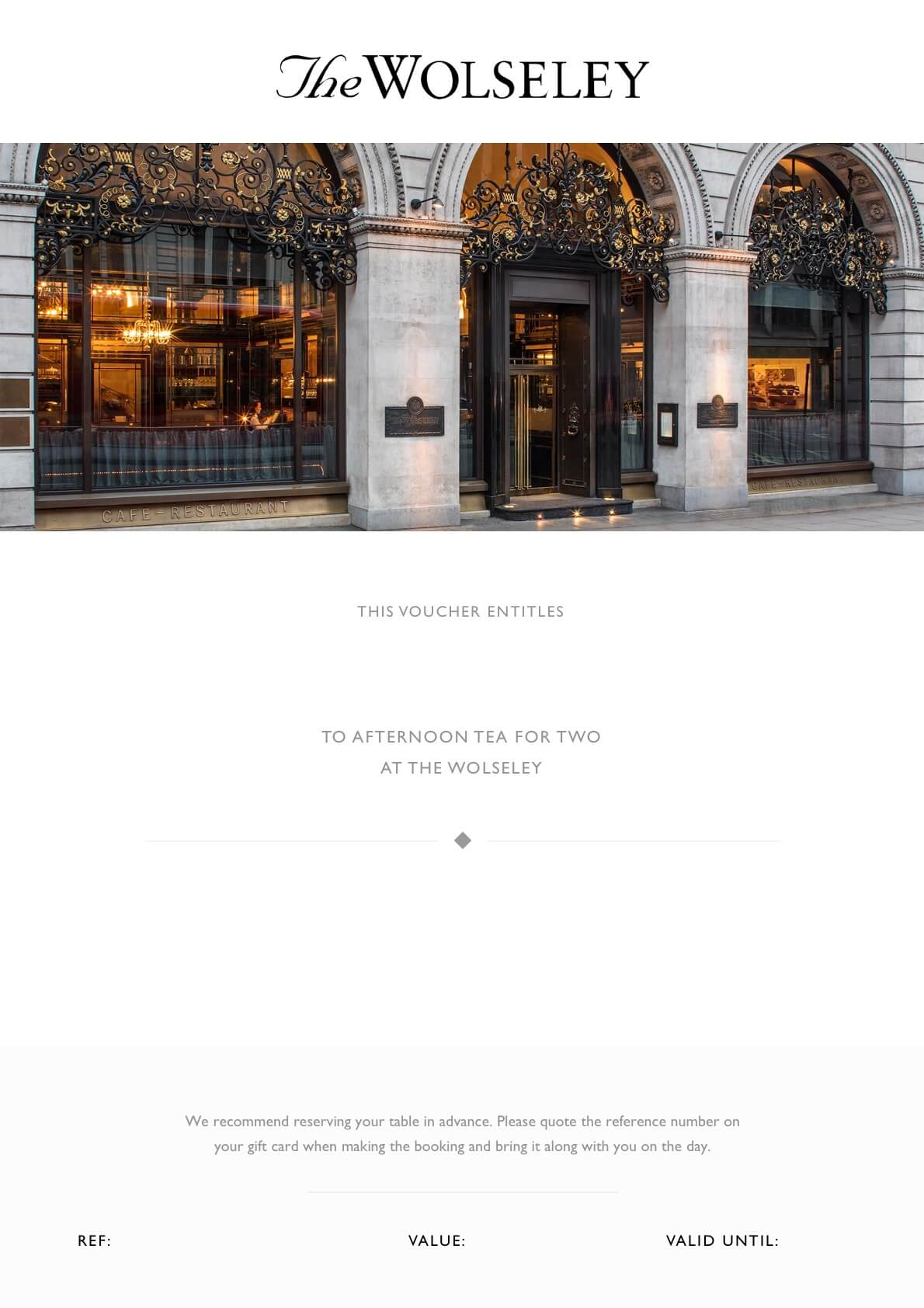 Afternoon Tea For Two At The Wolseley Gift Card The Wolseley