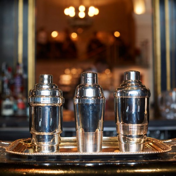 three vintage silver plated cocktail shaker
