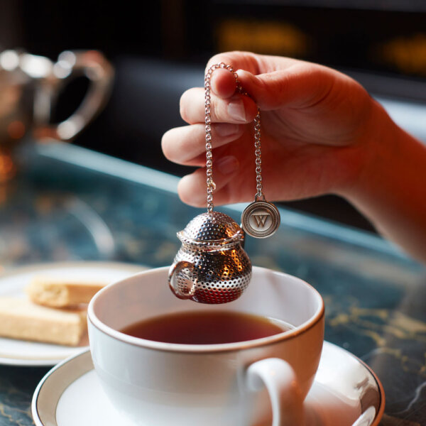 Hand Holding Silver-Plated Tea Infuser