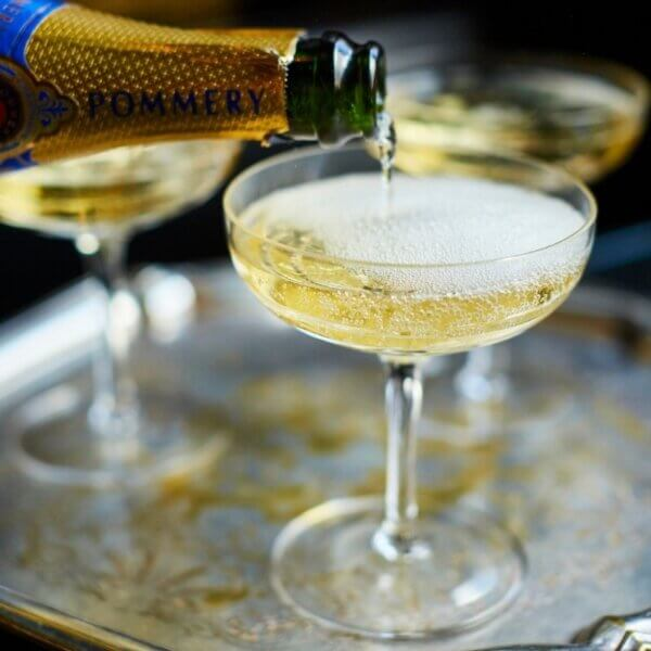 Six Champagne Crystal Coupes, The Wolseley